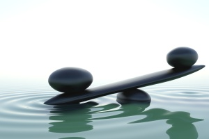 A balance stone in a zen water